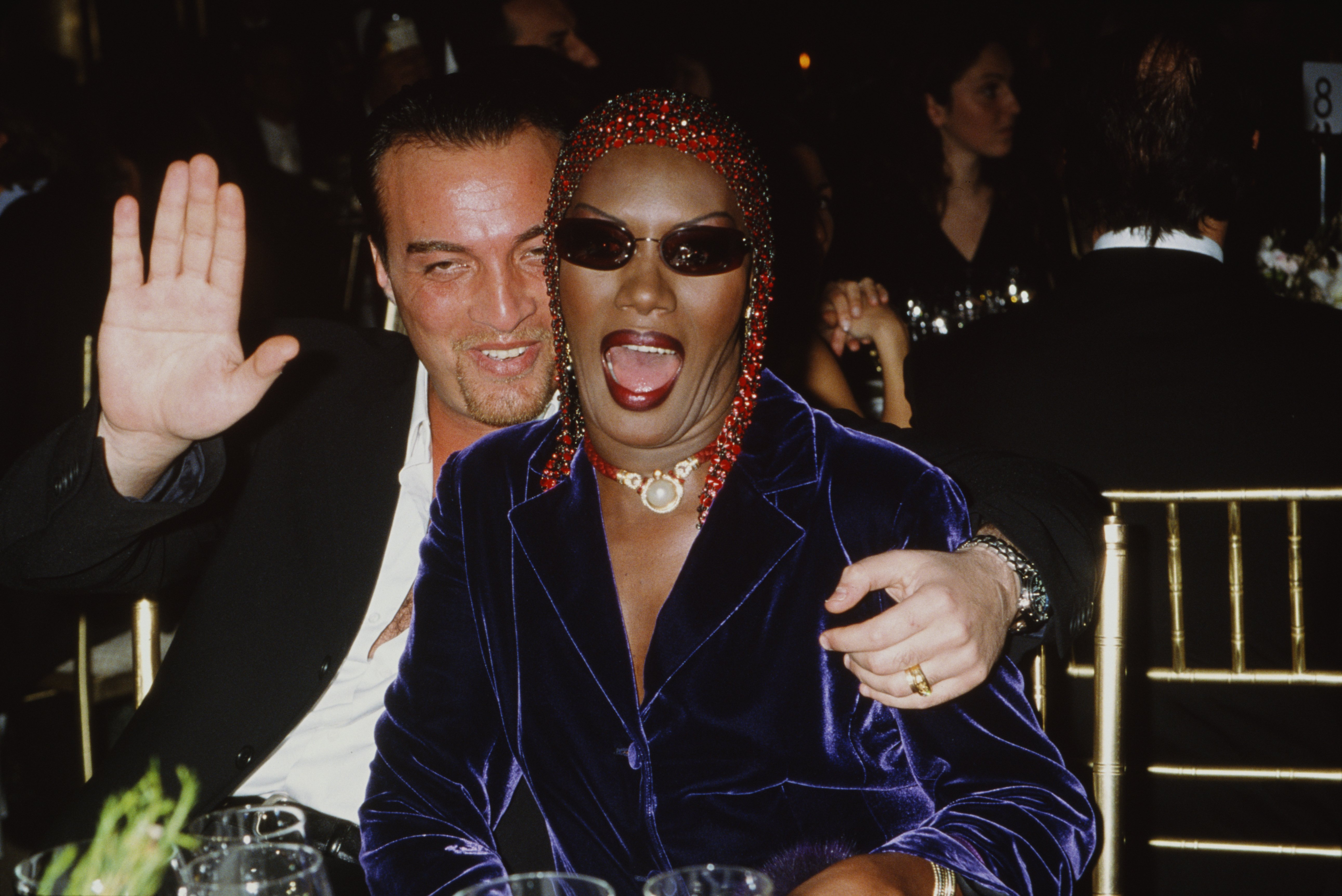 Jamaican singer, actress and model Grace Jones and her husband, Atila Altaunbay, attend the 'Made In Italy' awards ceremony at Cipriani, 42nd Street, New York City, 2000 | Photo: Getty Images