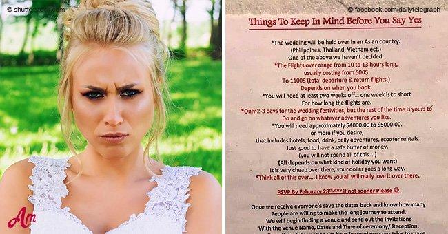 """Novia criticada tras """"agresiva"""" invitación a boda de dos páginas filtrarse en las redes"""