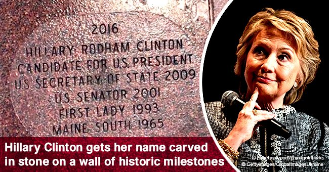 Hillary Clinton gets her name carved in stone on a wall of historic milestones