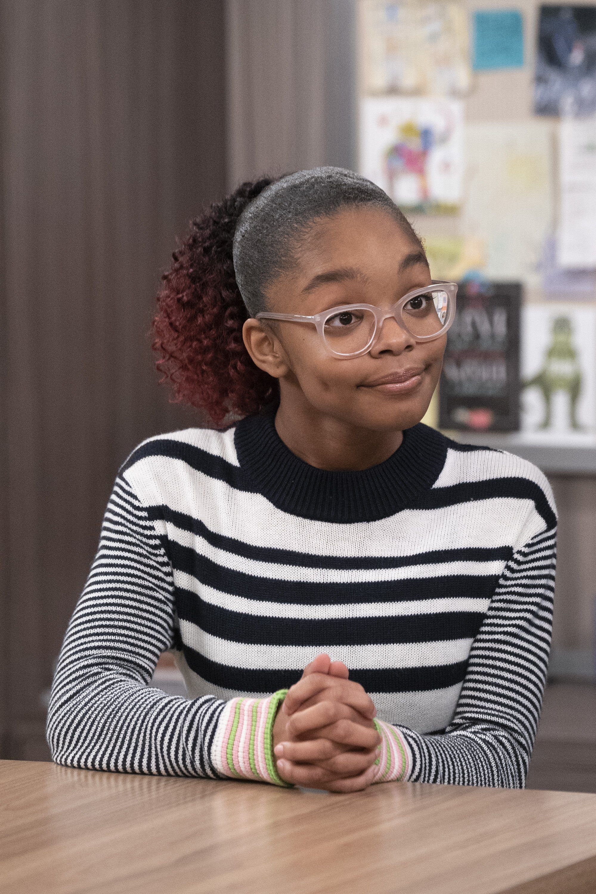 """Pictured: An undated image of actress Marsai Martin on the set of ABC's """"Black-ish"""" during Season 5 