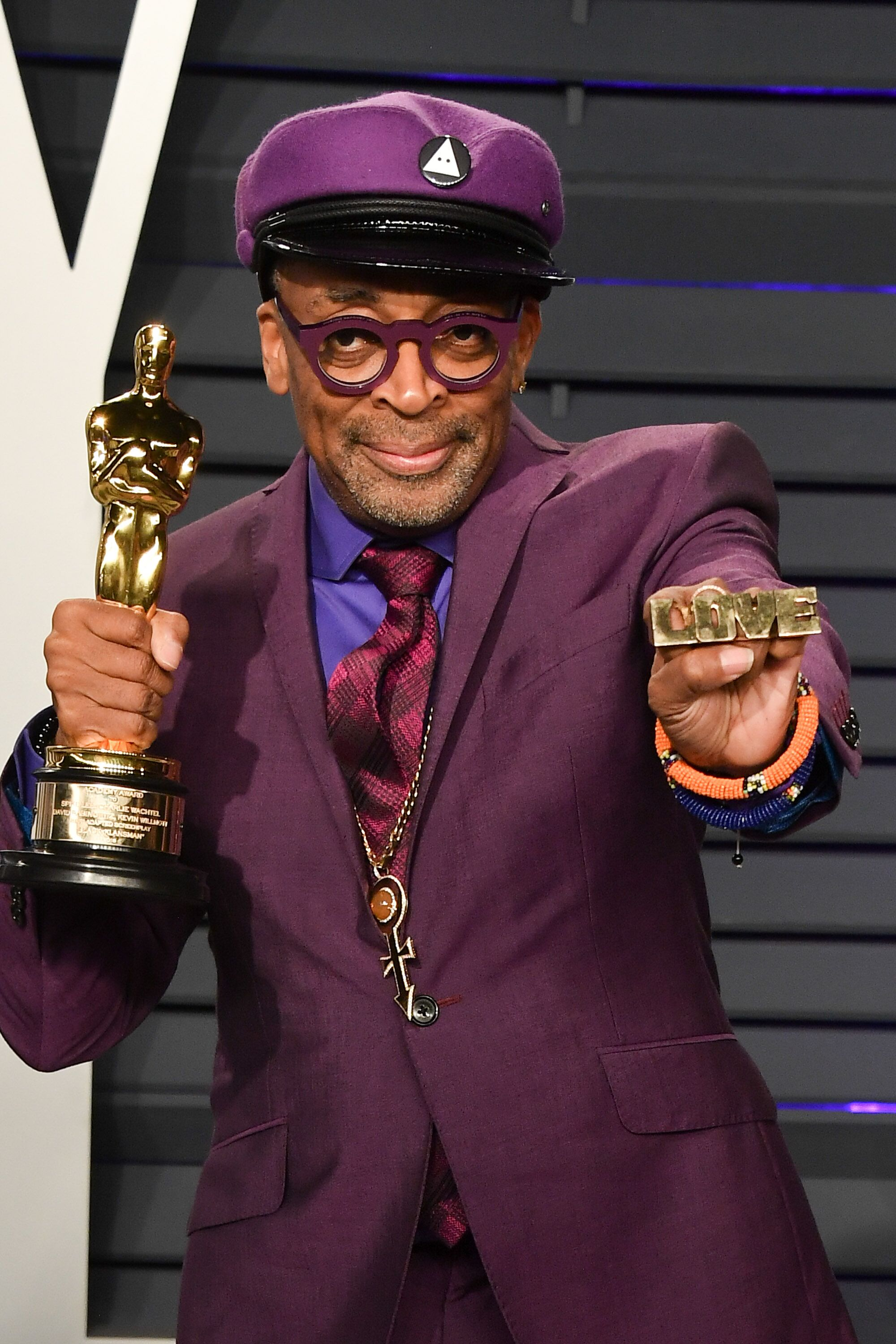 Spike Lee at the 2019 Academy Awards with his Oscar for Best Adapted Screenplay | Source: Getty Images