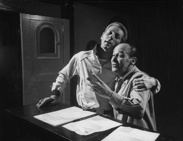 "Frank Loesser while rehearsing a song for M-G-M film ""Hans Christian Andersen"" 