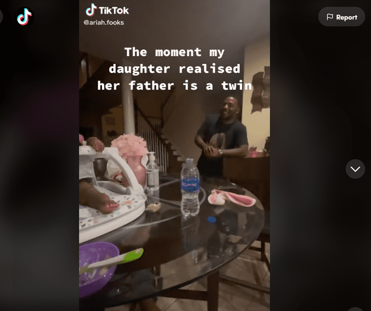A screenshot from a viral tiktok video about a baby and her daddy's twin brother  Photo: tiktok.com/@ariah.fooks