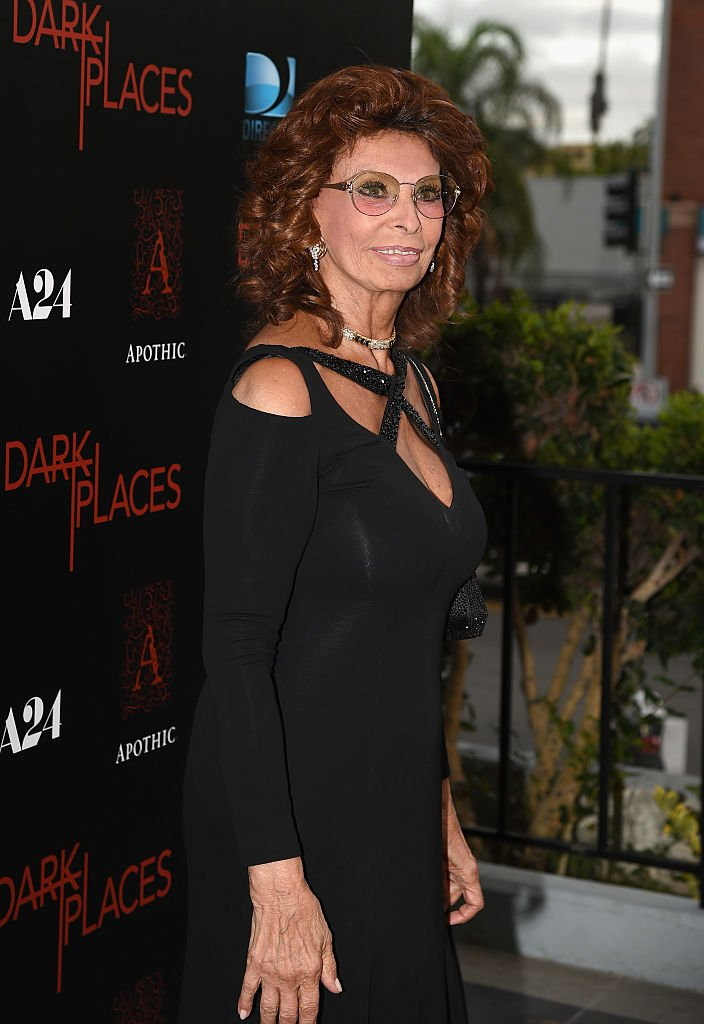 """Sophia Loren at the premiere of """"Dark Places"""" at Harmony Gold Theatre on July 21, 2015 