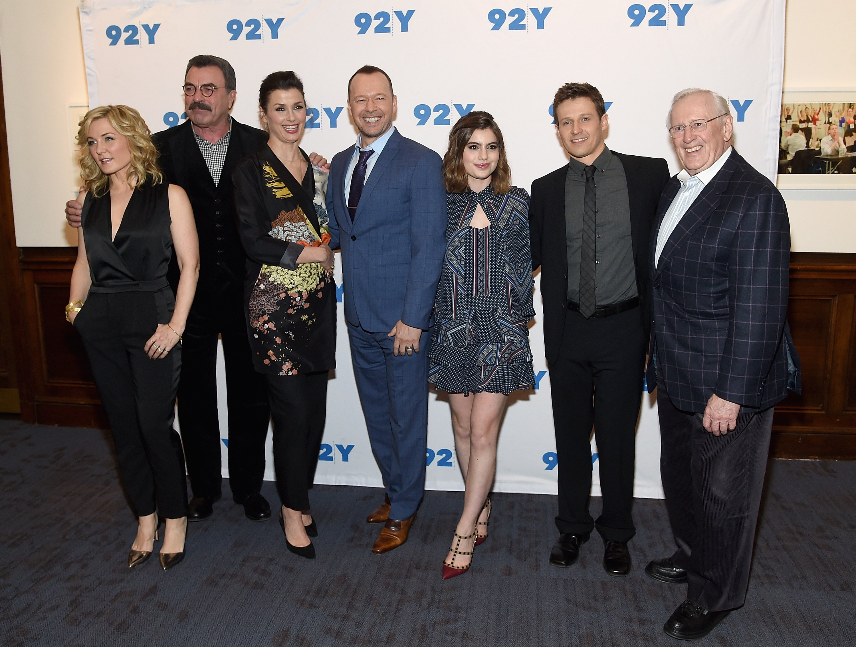 """Len Cariou stands at the end of the """"Blue Bloods"""" cast line at the 150th Episode Celebration in New York City on March 27, 2017 