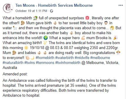 Source: Facebook/ Ten Moons - Homebirth Services Melbourne