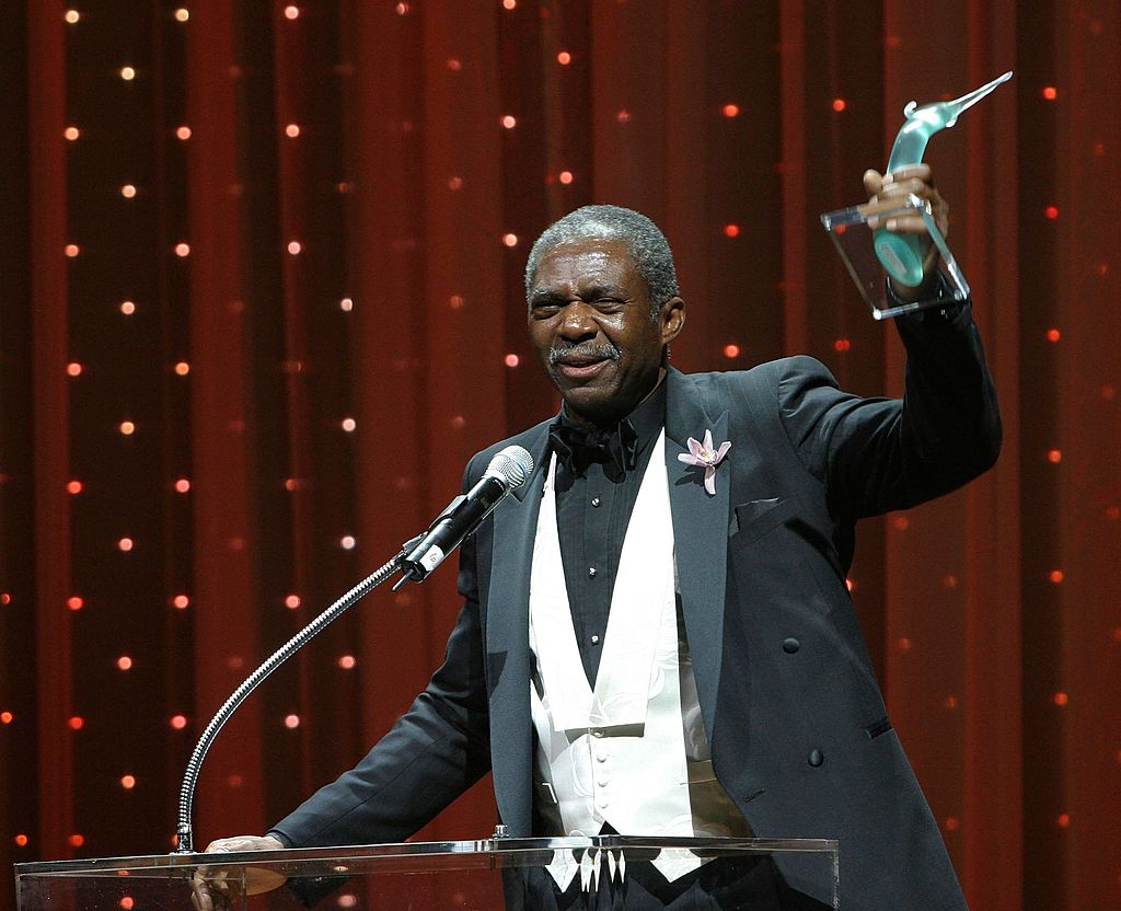 """Charlie Robinson accepts his award for """"Lead Actor in a Play"""" at the 2006 LA Stage Alliance Ovation Awards at the Orpheum Theatre November 13,2006. 