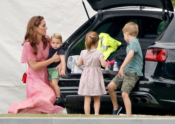 Catherine Middleton,  Prince Louis, Princess Charlotte and Prince George at the King Power Royal Charity Polo Match, | Photo: Getty Images