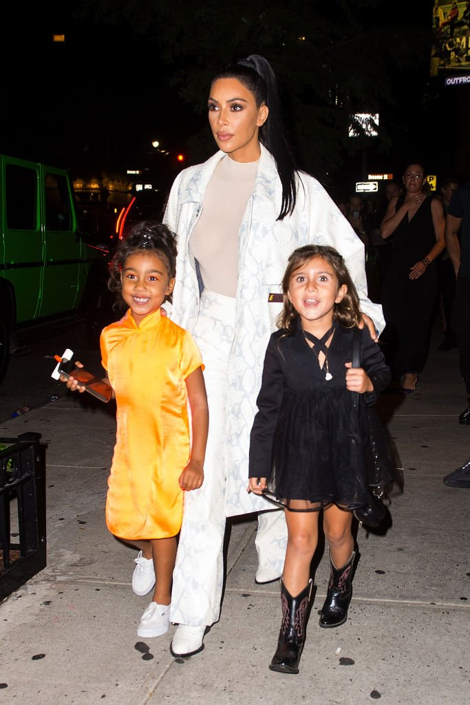 North West, Kim Kardashian and Penelope Disick are seen in SoHo, September 2018   Source: Getty Images
