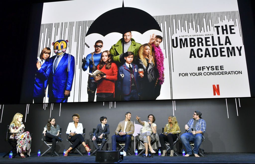 """Netflix """" Umbrella Academy"""" cast speak onstage at Netflix's 'Umbrella Academy' Screening at Raleigh Studios on May 11, 2019. 