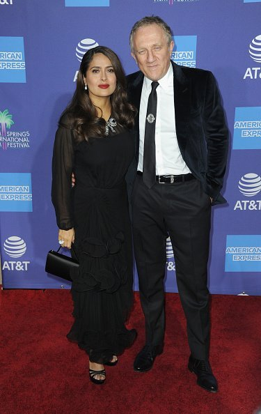 Salma Hayek and husband Francois Henri Pinault at Palm Springs Convention Center on January 2, 2020 in Palm Springs, California. | Photo: Getty Images