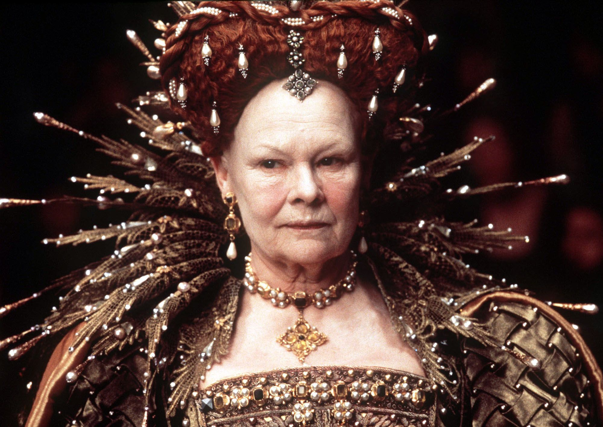 """Judy Dench as Queen Elizabeth I in the 1998 film """"Shakespeare in Love"""" for which she won the Oscar for Best Actress in a Supporting Role 