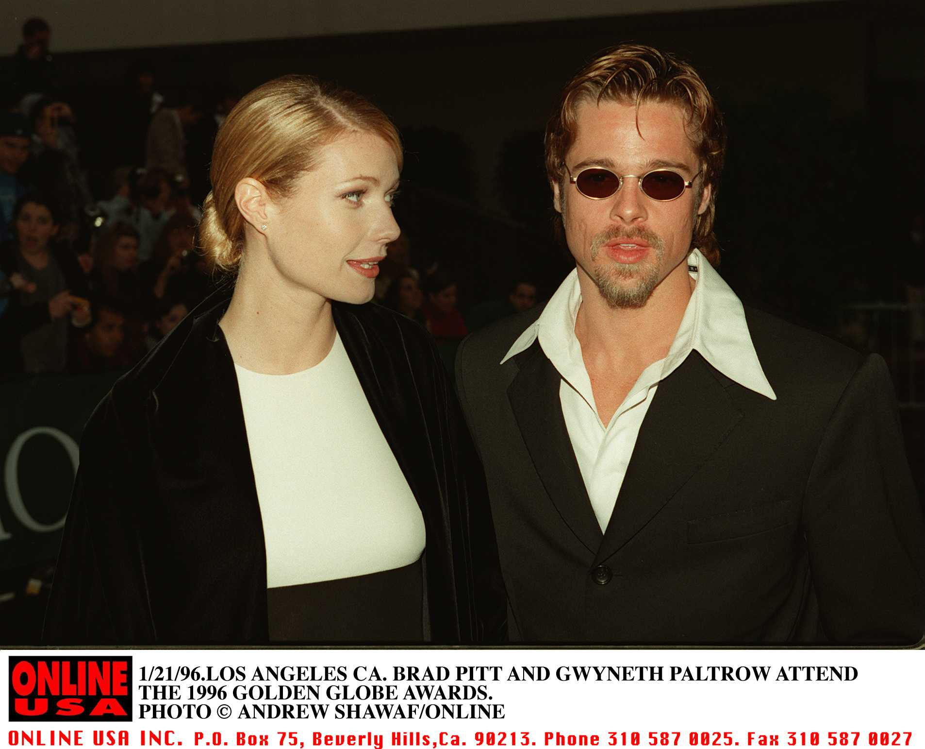Actors Brad Pitt and Gwyneth Paltrow attend the 1996 Golden Globe Awards. | Source: Getty Images.