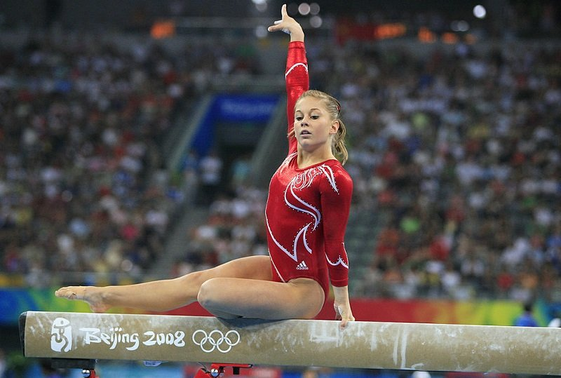 Shawn Johnson during the 2008 Beijing Olympics in Beijing, China, on August 13, 2008   Photo: Getty Images