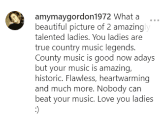 Fan comment on Loretta Lynn's post for Dolly Parton | Instagram: @lorettalynnofficial