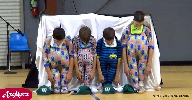 Ces garçons de CM2 attirent toute l'attention lors d'un concours de talents de l'école avec leur performance hilarante