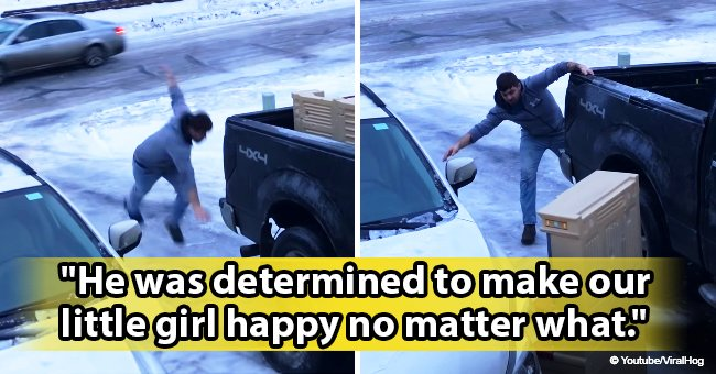 Story of dedicated dad slipping & sliding on ice just to get new daughter's toy still melts hearts