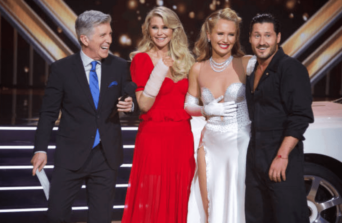 """Tom Bergeron, Christie Brinkley, Sailor Brinkley-Cook and Val Chmerkovsky after a performance on the the season 28 premiere of """"Dancing with the Stars,"""" on September 16, 2019 
