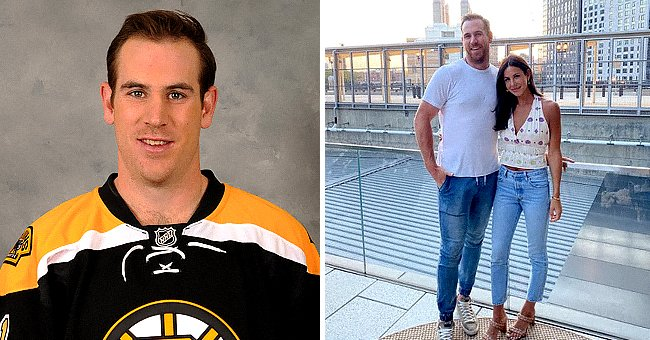 Jimmy Hayes #11 of the Boston Bruins poses for his official headshot for the 2016-2017 season on September 23, 2016 in Watertown, Massachusetts, the next shows a photo of him and his wife Kristen Hayes   Photo: Getty Images and Instagram/@raising_hayes