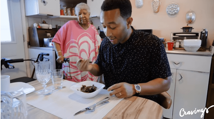 John Legend eats his grandma's collard greens | Source: YouTube/Chrissy Teigen