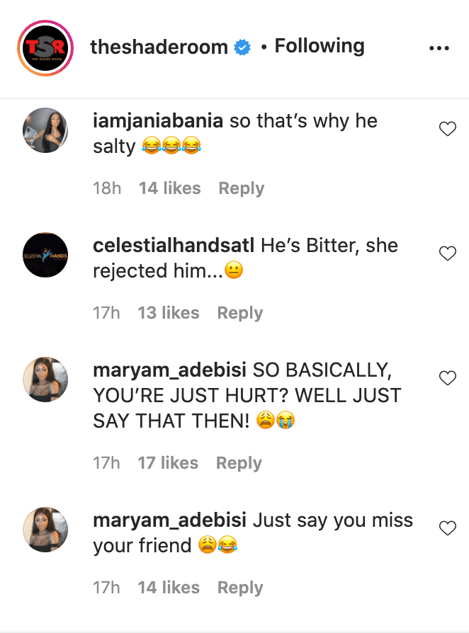 """Screenshot of fan comments on video of Piers Morgan on """"The Late Late Show"""" in 2018. 