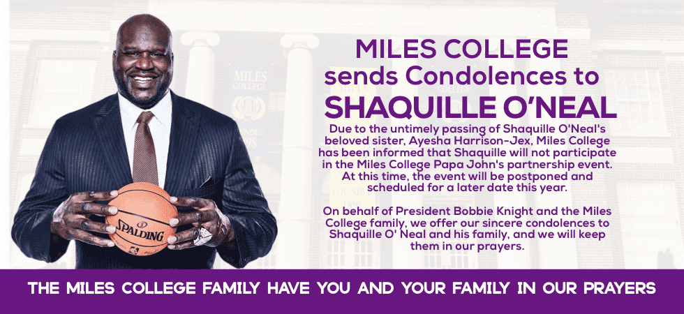 Condolences sent by Miles College to Shaquille O'Neal/ Source: www.miles.edu