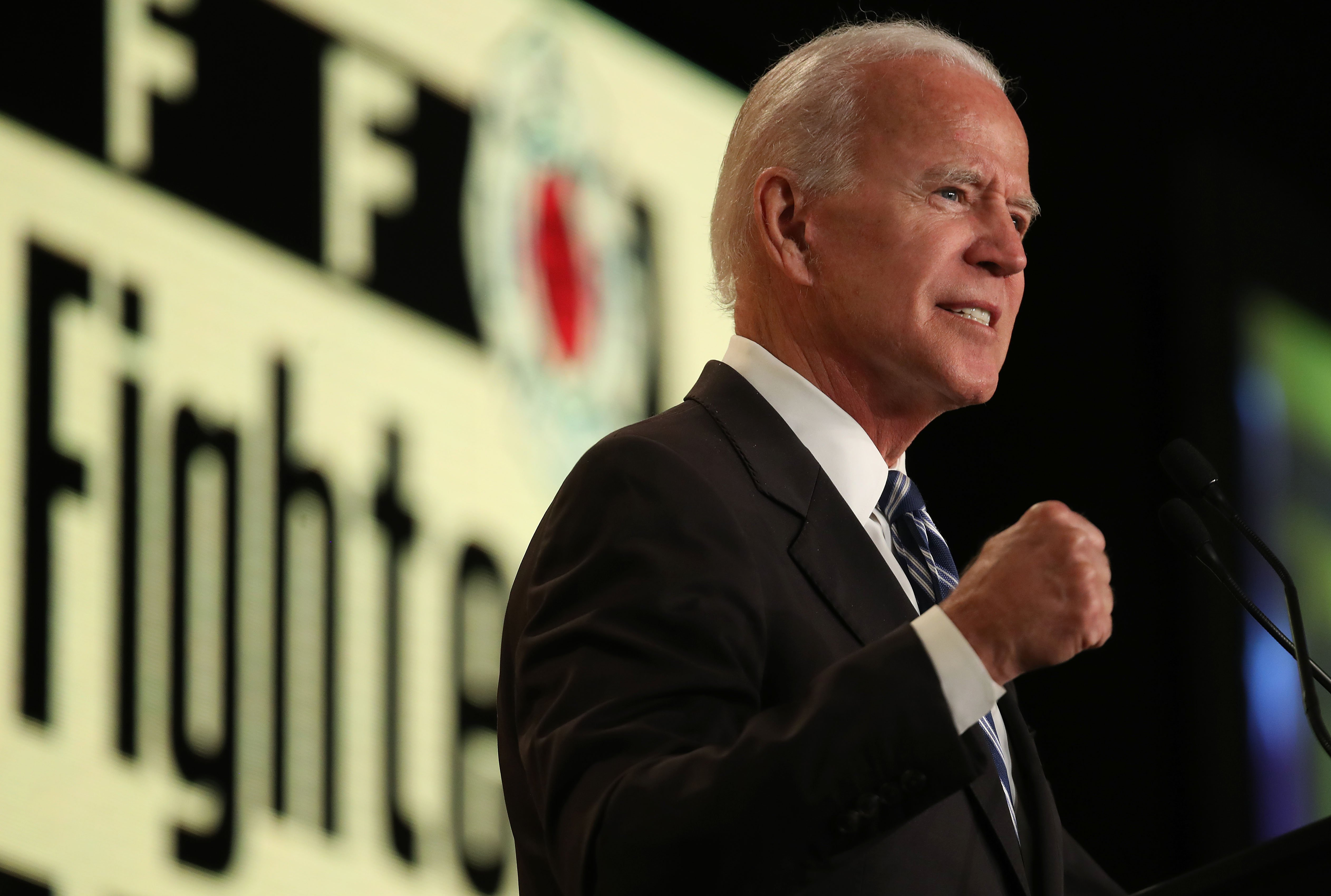Former U.S. Vice president Joe Biden delivering a speech at the International Association of Fire Fighters legislative conference in Washington D.C. | Photo: Getty Images