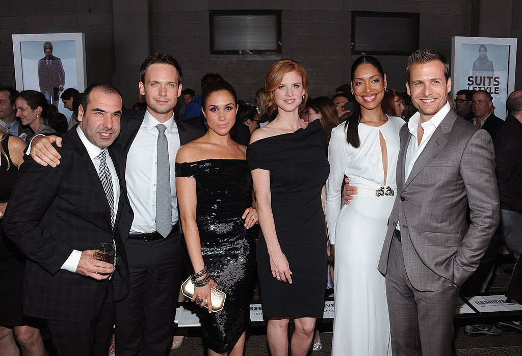 "Rick Hoffman, Patrick J. Adams, Meghan Markle, Sarah Rafferty, Gina Torres and Gabriel Macht of Suits at USA Network and Mr Porter.com Present ""A Suits Story."" 