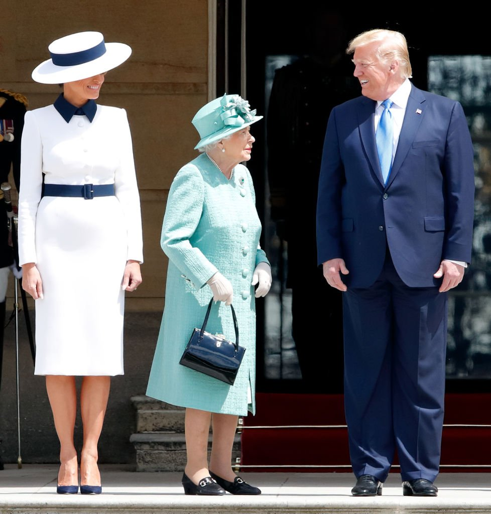 Melania Trump, Queen Elizabeth, and Donald Trump on June 3, 2019 in London, England | Source: Getty Images