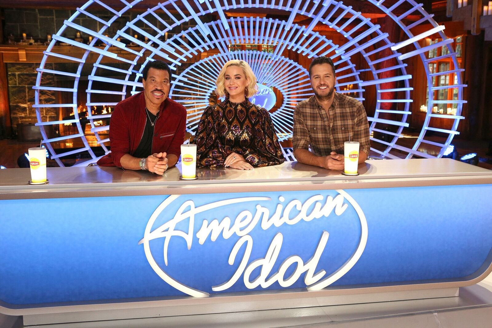 """Lionel Richie, Katy Perry, and Luke Bryan on the set of """"American Idol"""" season 3. Image uploaded onNovember 08, 2019 