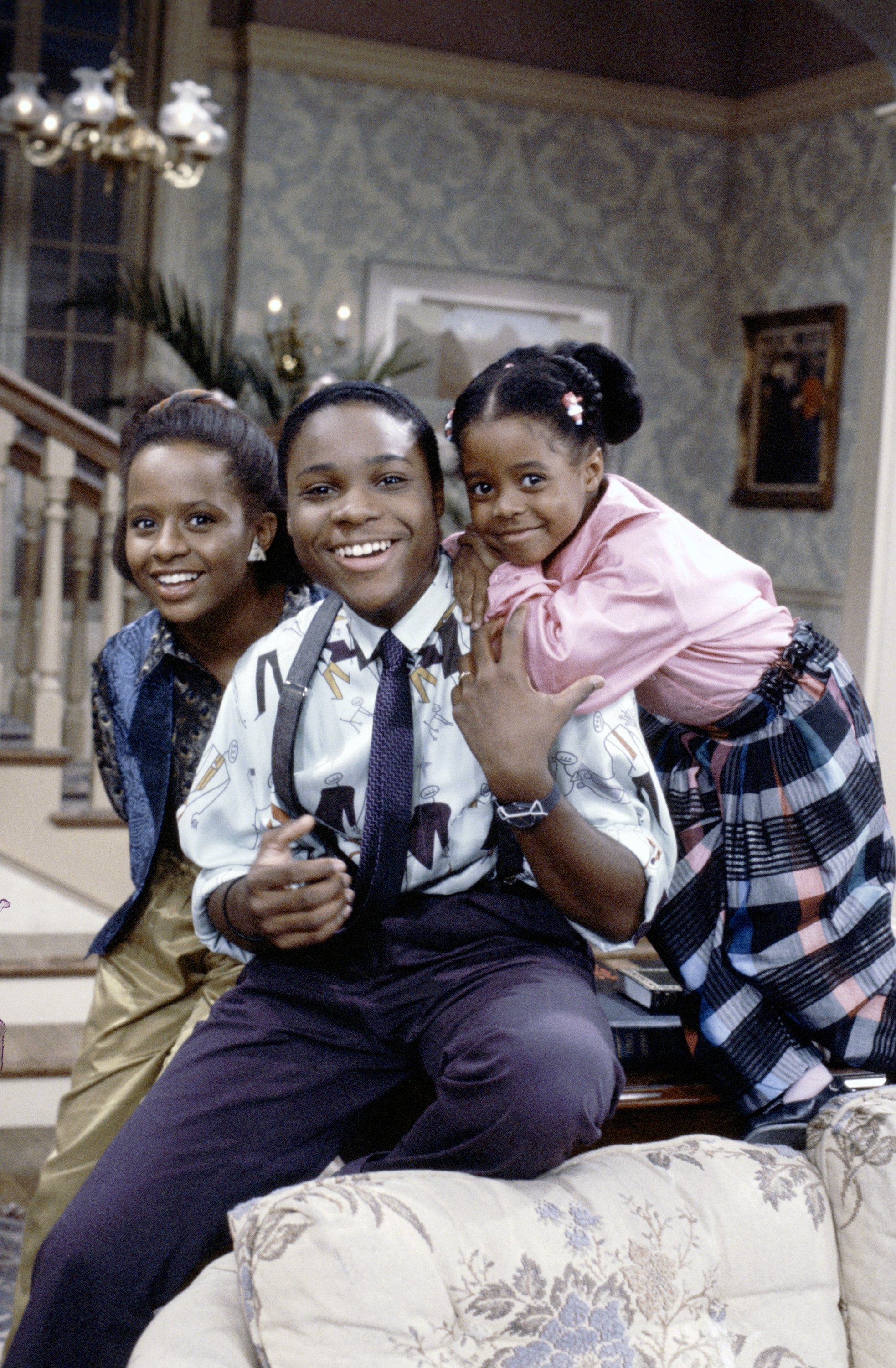 """Tempestt Bledsoe, Malcolm-Jamal Warner and Keshia Knight Pulliam pictured on the set of """"The Cosby Show"""" in an undated photo 