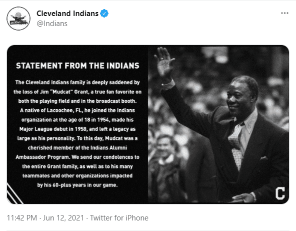 The Cleveland Indians released a statement on Twitter.   Photo: Twitter/Indians