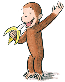 """Curious George"" illustration from the Margret and H. A. Rey's book series 