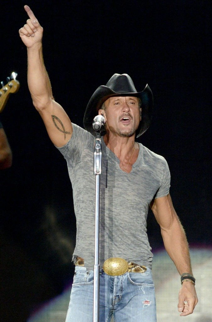Tim McGraw performs during his Two Lanes of Freedom Tour at the Lake Tahoe Outdoor Arena at Harveys on July 16, 2013   Photo: Getty Images