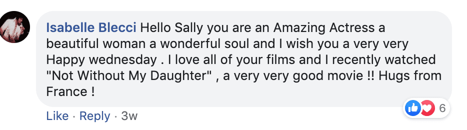 Fan's comment on Sally Field's post. | Source: Facebook/SallyField