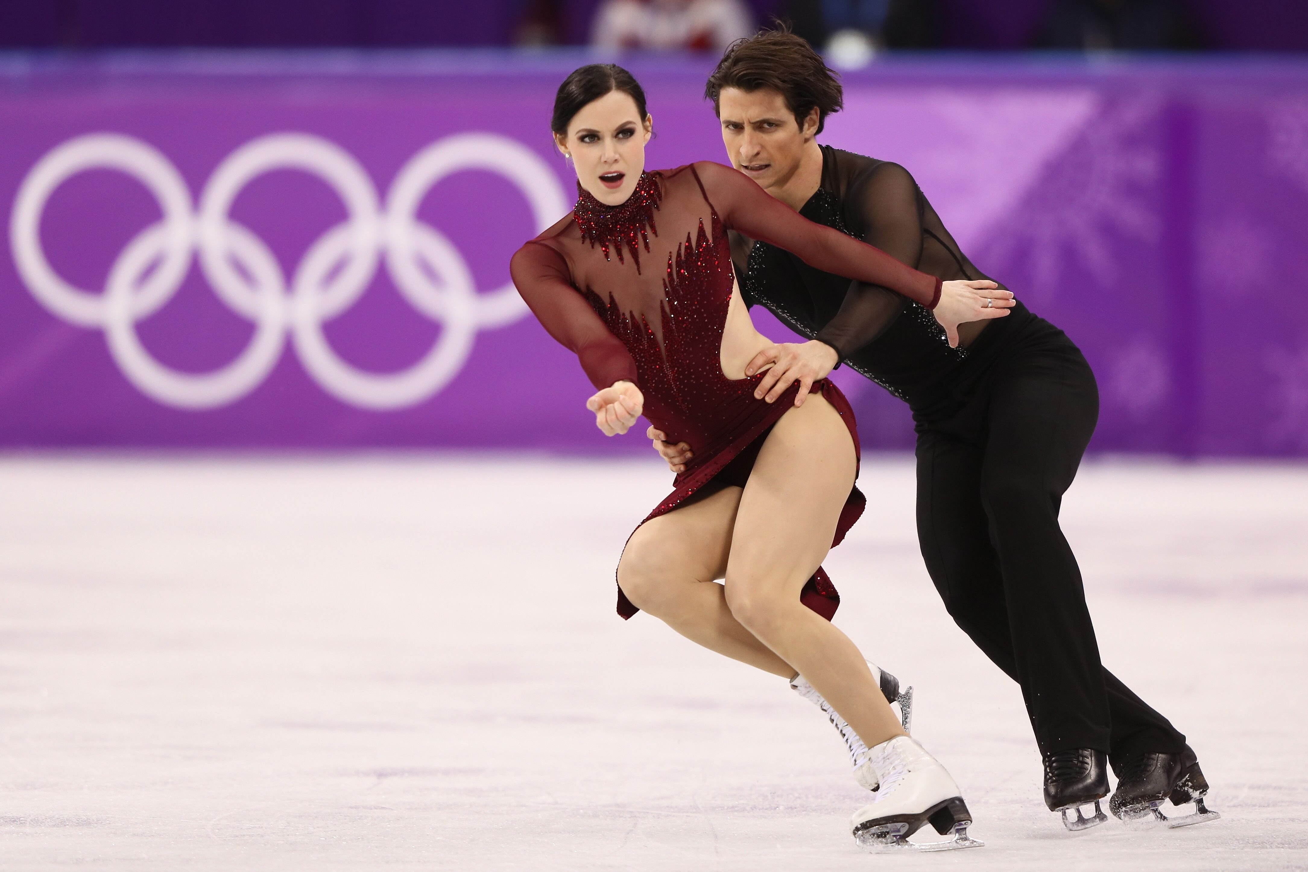 Tessa Virtue and Scott Moir competing at the Figure Skating Ice Dance Free Dance in PyeongChang at the 2018 Winter Olympic Games | Source: Getty Images