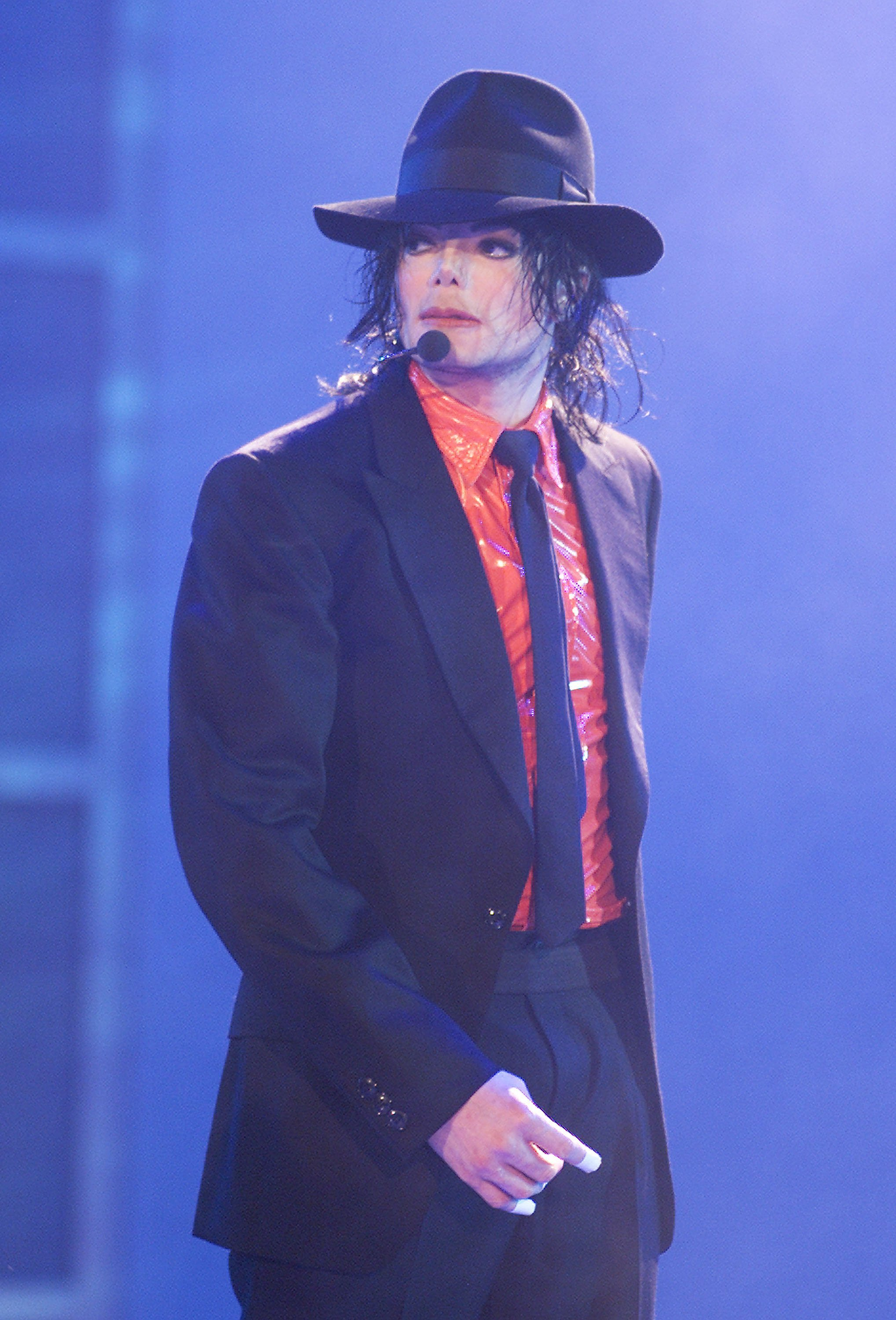 "Michael Jackson performs at the taping of ""American Bandstand's 50th...A Celebration"" at the Pasadena Civic Auditorium, April 20, 2002. 