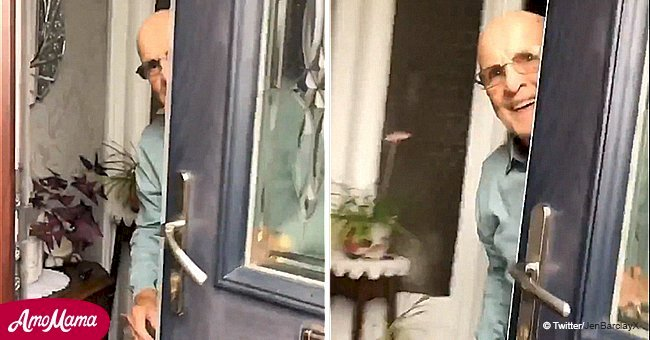 Student captures grandfather's sweet reaction when she visits him in this viral video