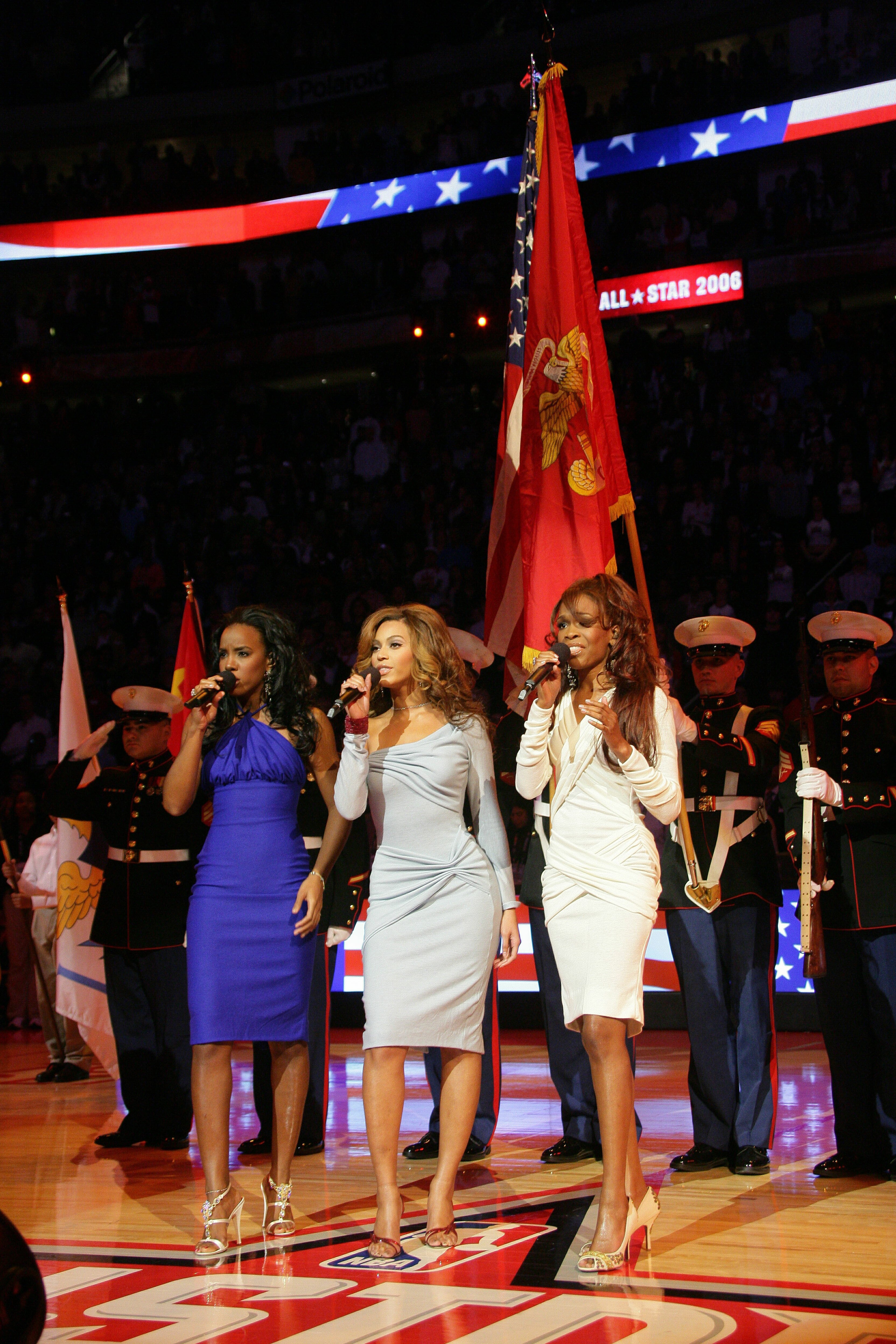 Kelly Rowland, Beyonce Knowles and Michelle Williams of the group Destiny's Child perform the National Anthem prior to the 2006 NBA All-Star Game February 19, 2006 at the Toyota Center | Photo: Getty Images