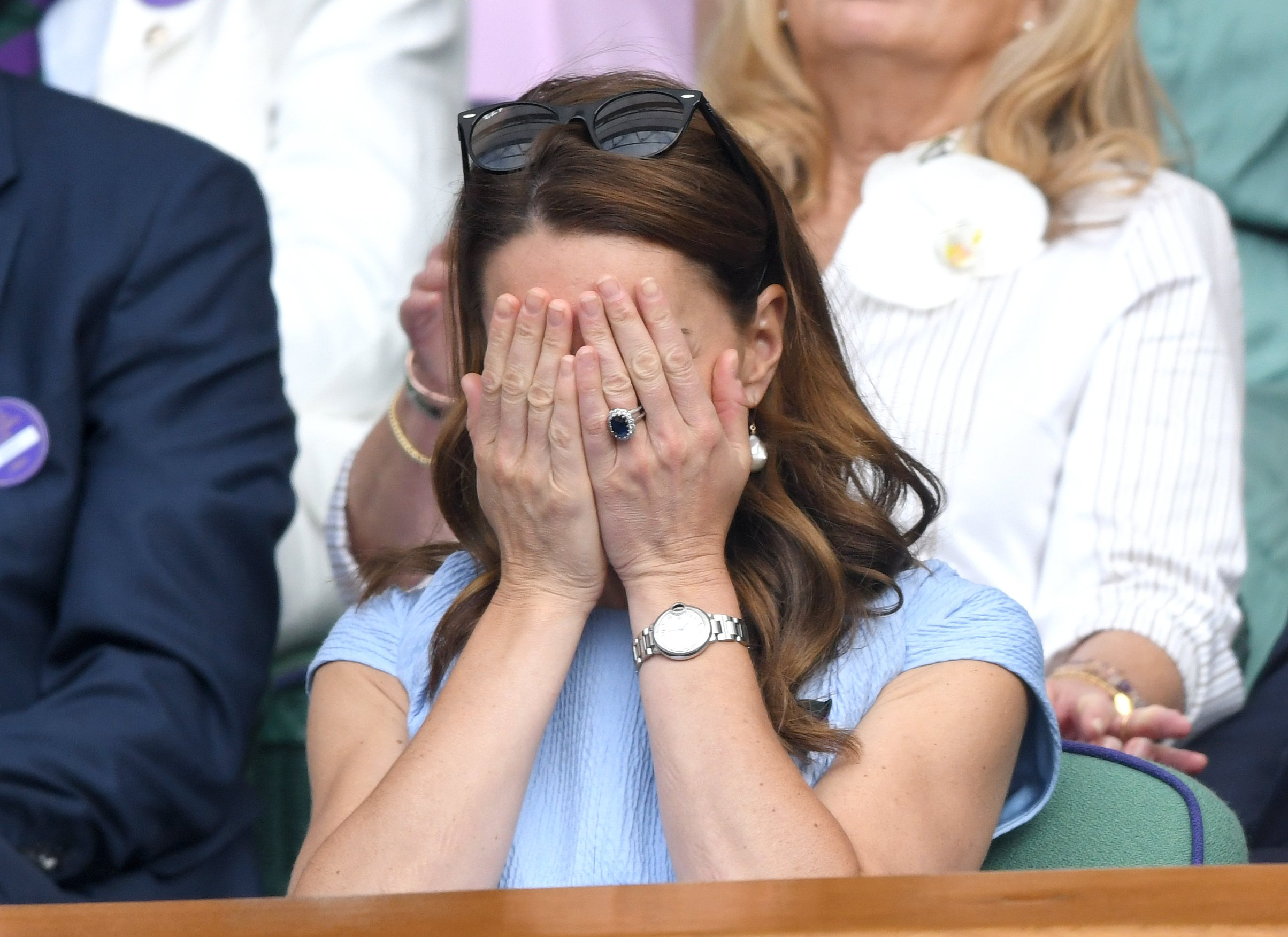 Duchess Kate reacting to the Men's Finals match at Wimbledon on July 14, 2019 | Photo: Getty Images