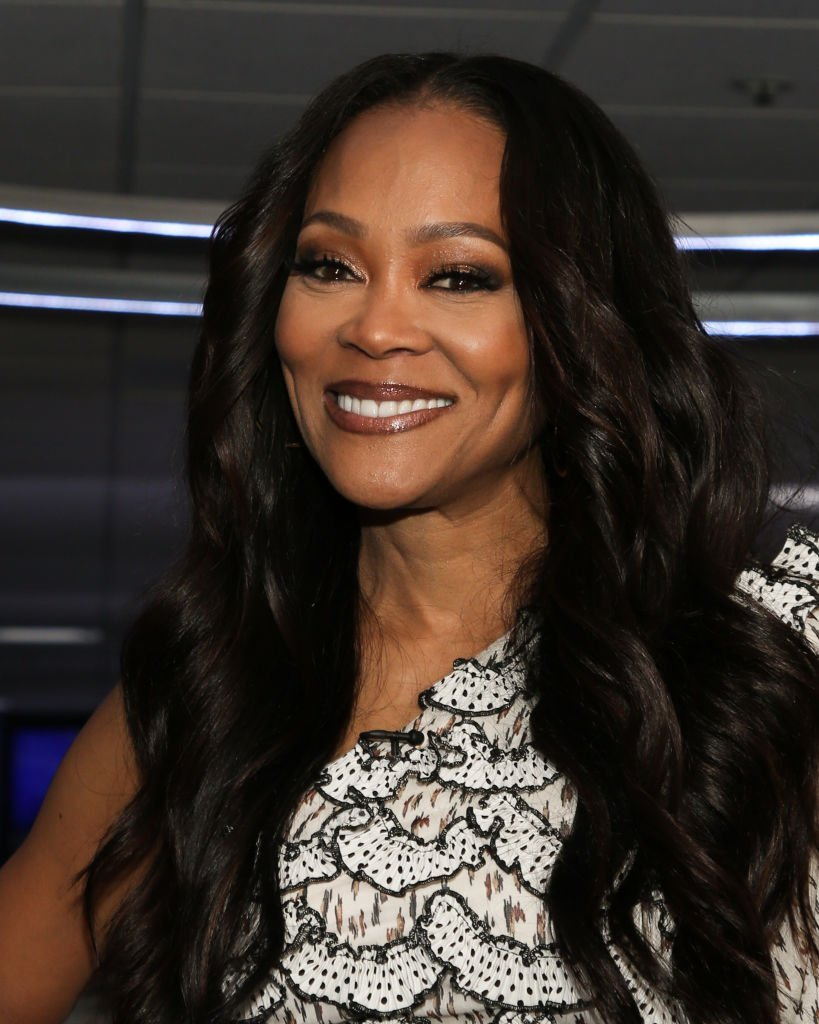 "Actress Robin Givens visits ""Extra"" at Burbank Studios on November 12, 2019 in Burbank, California. 
