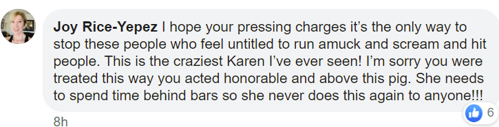 A user's comment on a post of a woman who attacked a sailor.   Photo: Facebook/Sean Nolte Jr.