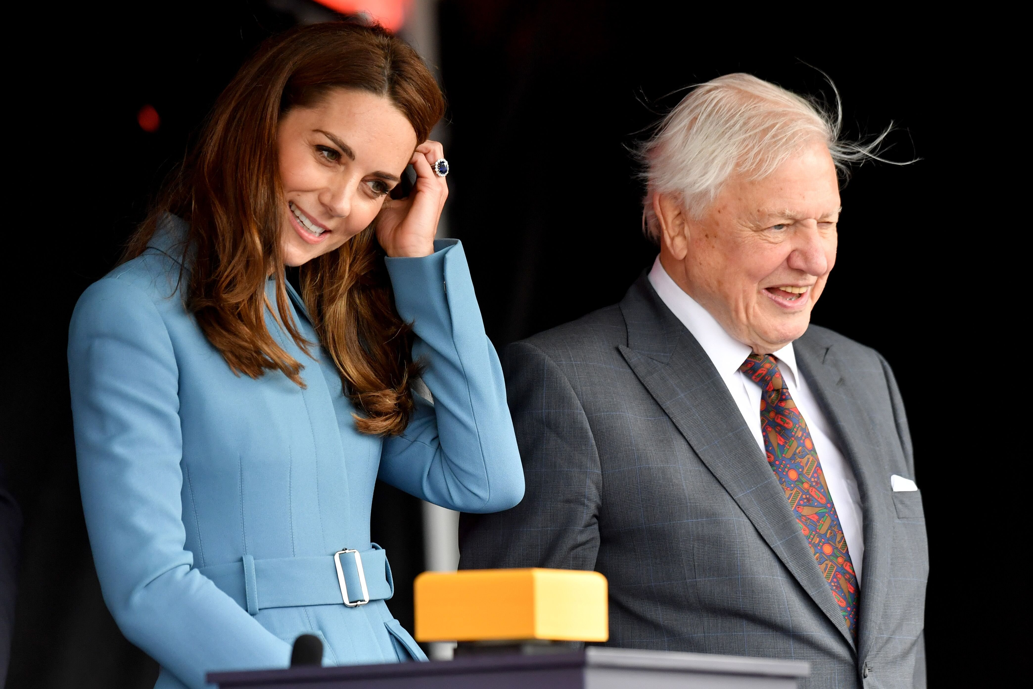 Kate Middleton and David Attenborough attend the naming ceremony for The RSS Sir David Attenborough on September 26, 2019 in Birkenhead, England. | Source: Getty Images
