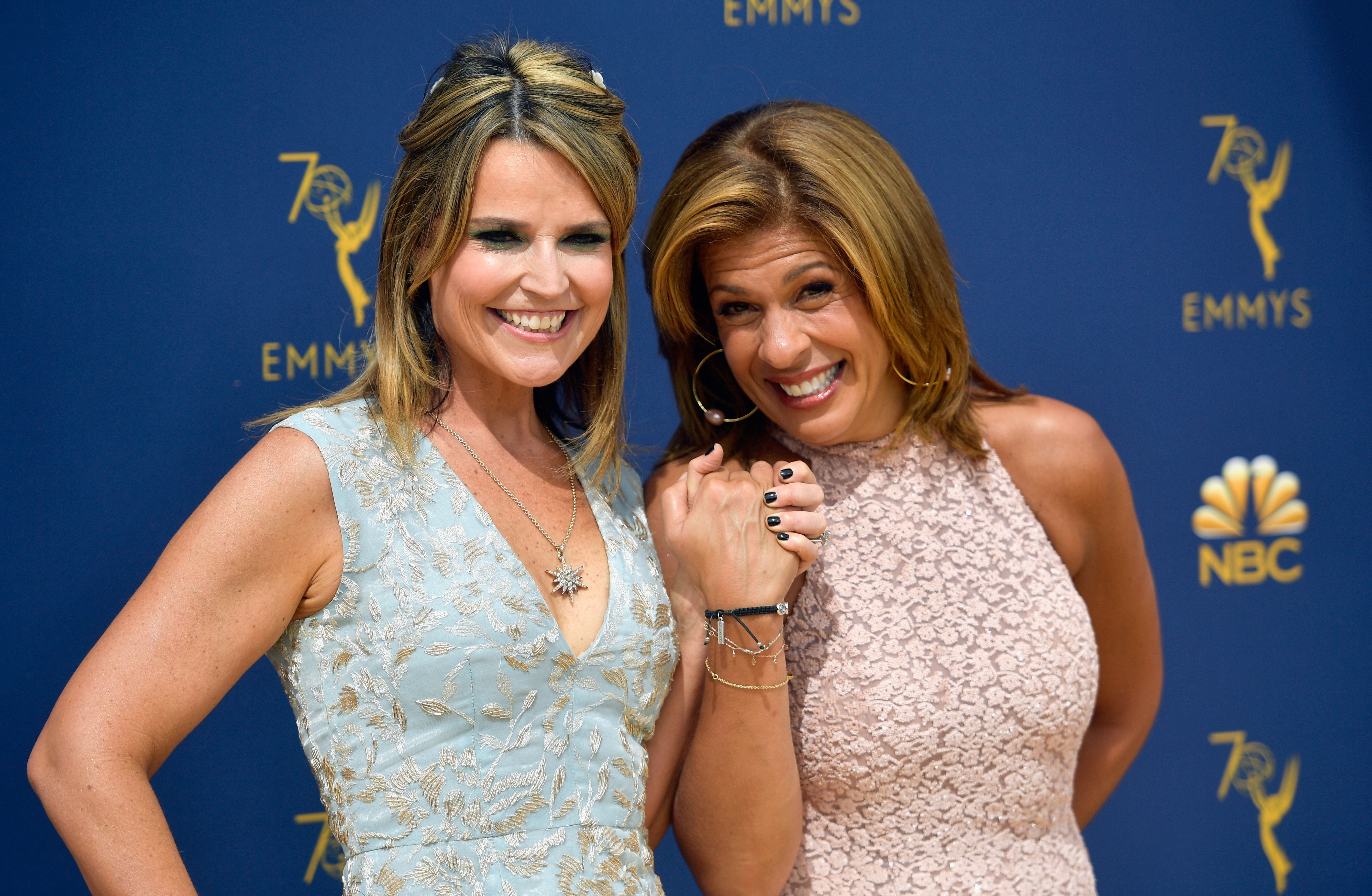 Savannah Guthrie and Hoda Kotb at the 70th Emmy Awards at Microsoft Theater on September 17, 2018   Photo: Getty Images