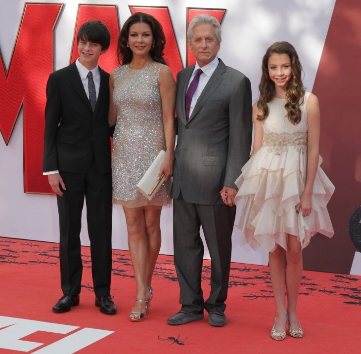 Dylan Michael Douglas, Catherine Zeta-Jones, Michael Douglas and Carys Zeta-Douglas attend the Ant-Man - European premiere | Source: Shutterstock.com