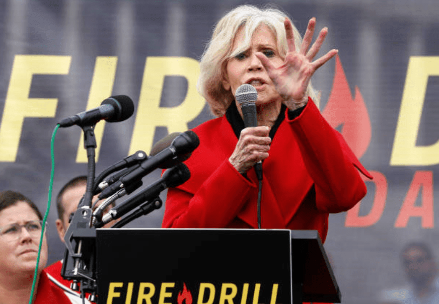"Before her third arrest in a row, Jane Fonda speaks during ""Fire Drill Friday"" climate change protest, on October 25, 2019, Washington, DC 