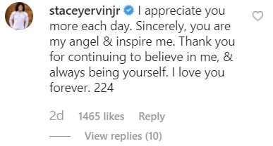 Stacey Ervin Jr. replies to a post from his girlfriend, Simone Biles. | Source: instagram/simonebiles