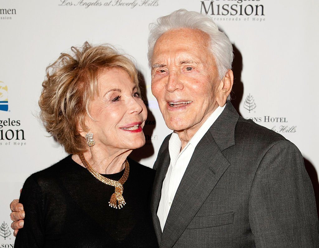 """Kirk and Anne Douglas arrive to the Los Angeles Mission's """"Legacy of Vision"""" Gala at Four Seasons Hotel Los Angeles at Beverly Hills on September 12, 2012, in Beverly Hills, California. 