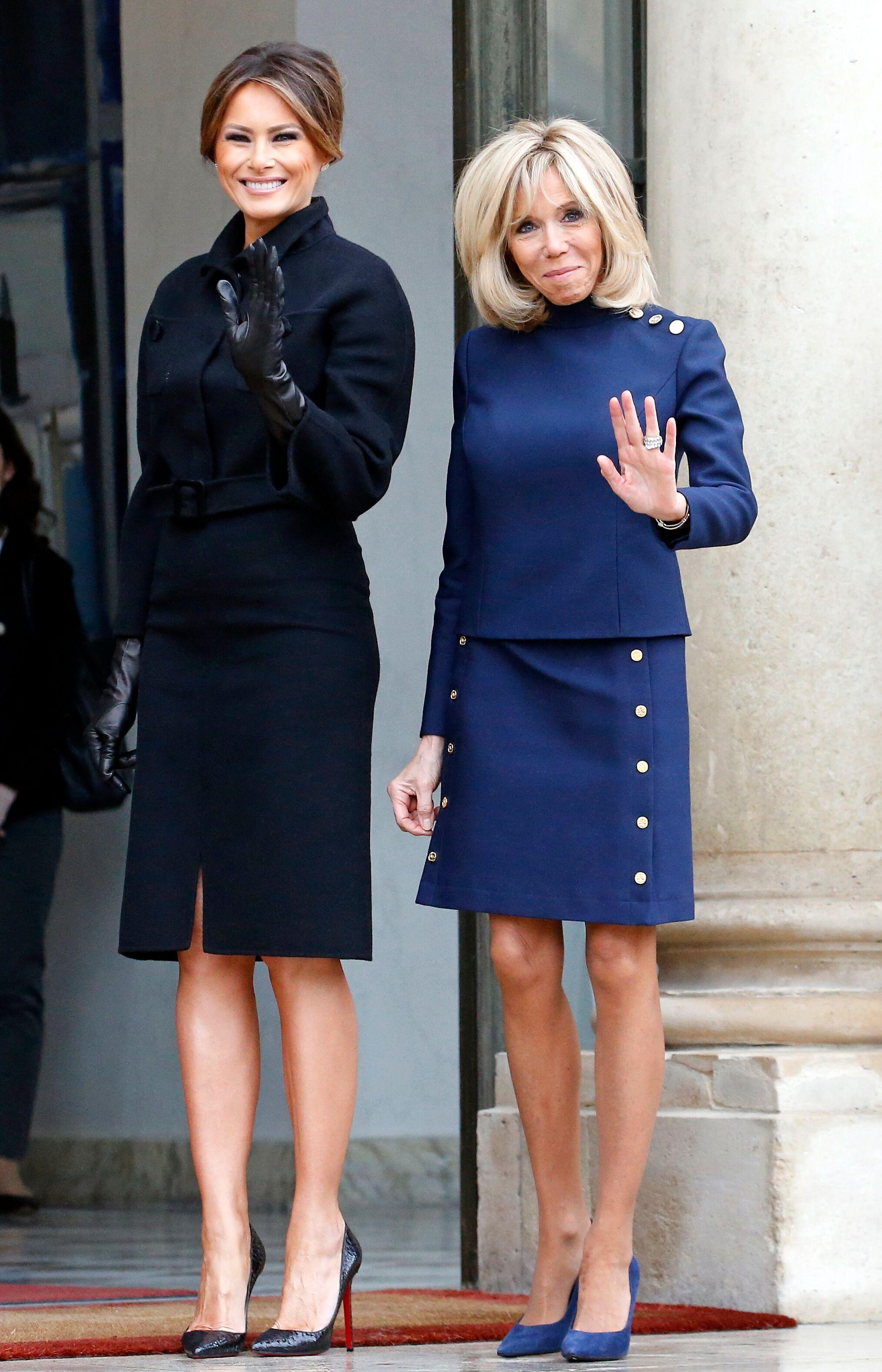 Brigitte Macron en compagnie de Melania Trump. l Source: Getty Images