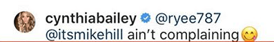 Cynthia Bailey's response to Instagram user @ryee787 after the latter told him to lose weight. | instagram.com/cynthiabailey